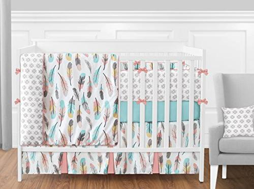Sweet Turquoise Fitted Crib Sheet Feather Collection Set