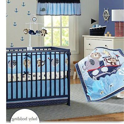 nautical crib bedding sets with bumper blue