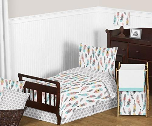 Sweet Designs Turquoise Fitted Sheet Feather Set
