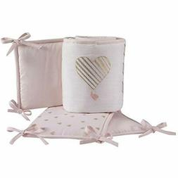 """Lambs """" Ivy Baby Love 4-Piece Crib Bumper Pads- Pink/Gold/Wh"""
