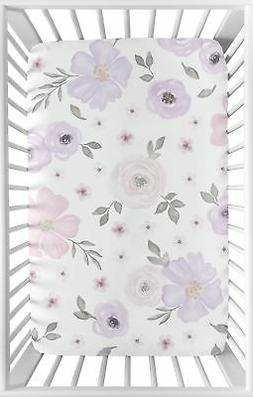 Lavender Purple Pink Grey Watercolor Floral Baby Fitted Mini