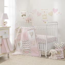 Lambs & Ivy Baby Love Pink/Gold Heart 4 Piece Crib Bedding S