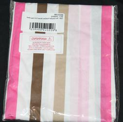 mod dots pink brown stripes fitted crib