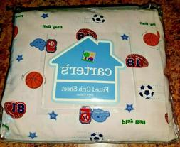 NEW! CARTER'S Fitted CRIB SHEET Play Ball Soccer Basketball
