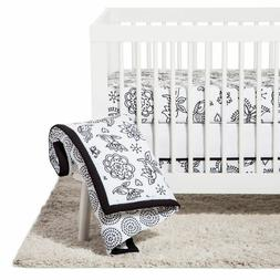 NEW NoJo Crib Bedding Set 8pc - Floral butterfly - Black/Whi