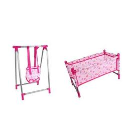 Nursery Room Furniture Decor- Baby Doll Crib Bed Swing Kids