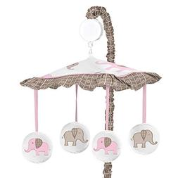 Sweet Jojo Designs Pink and Brown Mod Elephant Musical Baby