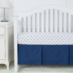 TILLYOU Pleated Crib Skirt Navy Blue, 100% Natural Cotton, N