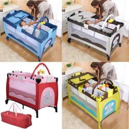 Portable Baby Crib Playpen Playard Pack Travel Infant Bassin