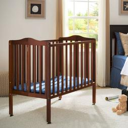 Portable Baby Crib with Mattress & Wheels Folding Bed Toddle