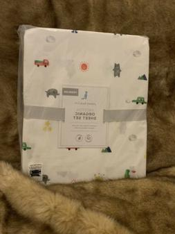 Pottery Barn Kids Preston Organic Toddler Sheet Set NWT Crib