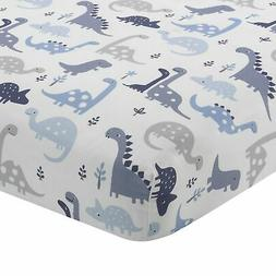Bedtime Originals Roar Dinosaur Fitted Crib Sheet, Blue/Whit