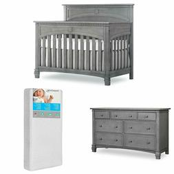 Evolur Santa Fe 5 in 1 Convertible Crib and Double Dresser w