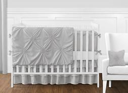 Solid Color Grey Shabby Chic Harper Baby Girl Crib Bedding S