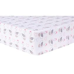 Trend Lab Swans Fitted Crib Sheet, Pink/White