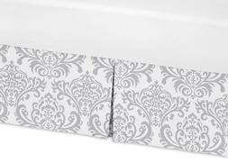 Sweet Jojo Designs Gray Bed Skirts and White Damask Crib Bed