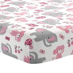 Bedtime Originals Twinkle Toes Elephant Fitted Crib Sheet, P