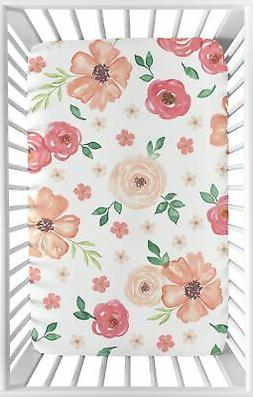 Watercolor Floral Peach Green Sweet Jojo Baby Fitted Mini Po