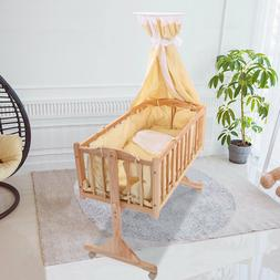 Wood Baby Cradle Rocking Bassinet Bed Sleeper Born Portable