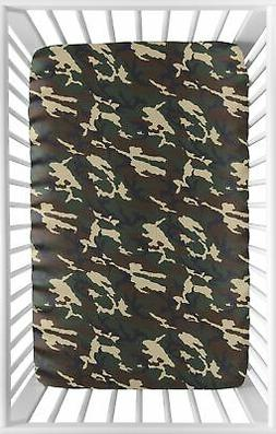 Woodland Camo Green Beige Camouflage Baby Boy Fitted Mini Po